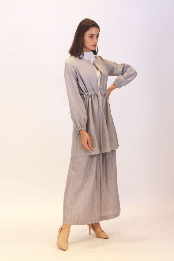Linen Gathered Waist Cardigan -Gray