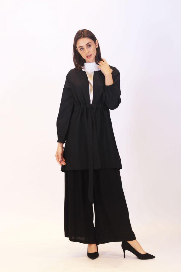 Linen Gathered Waist Cardigan Black