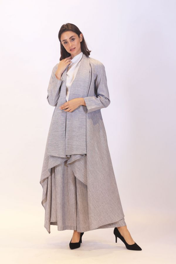 Linen GrayWaterfall Cardigan