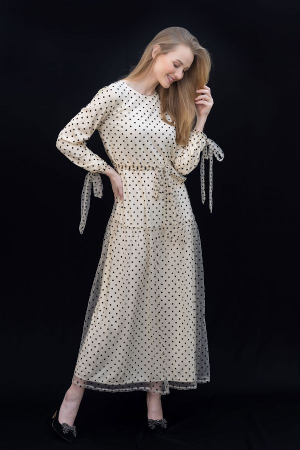 Dotted Maxi Dress with Tie Sleeves