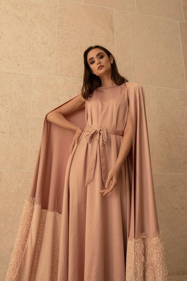 Light Pink Cape Dress