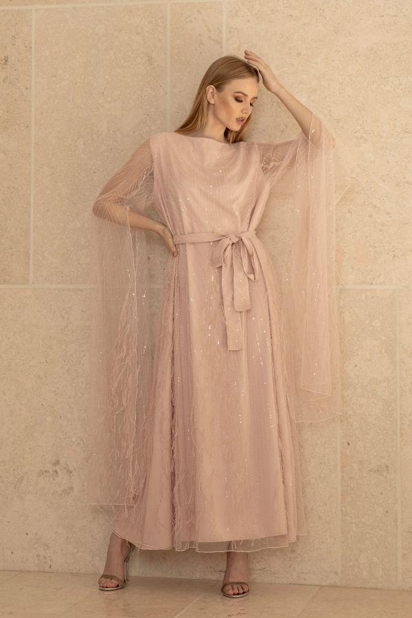 Embellished Pink Feather Dress
