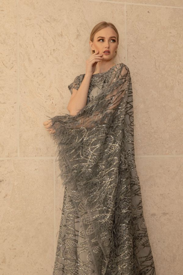 Gray Sequin Feather Dress