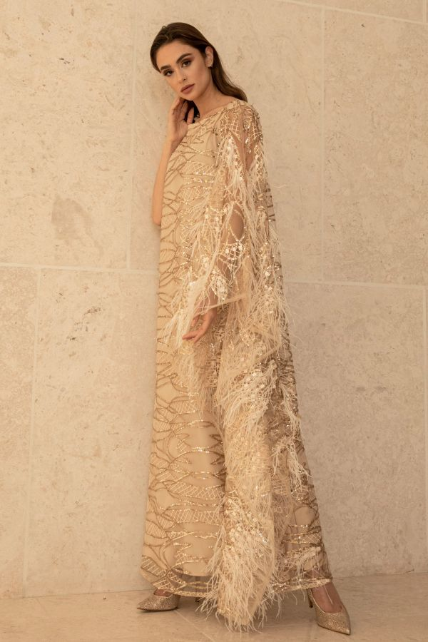 Gold Sequin Feather Dress