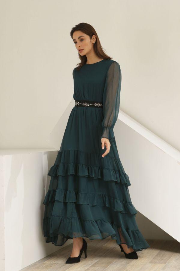 Green Maxi Dress with Black Belt