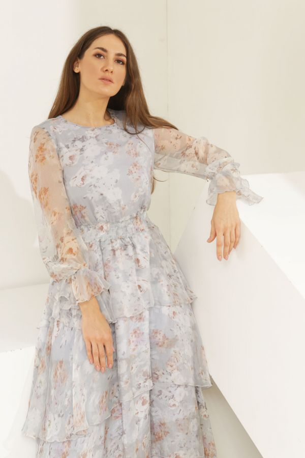 Floral Layered Dress with Elastic Waist
