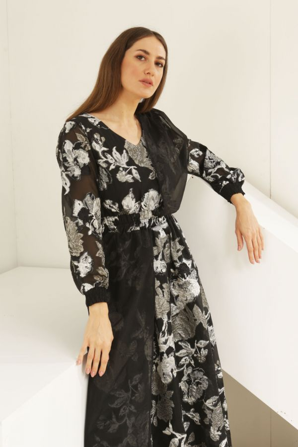 Black  Floral Dress with Scarf