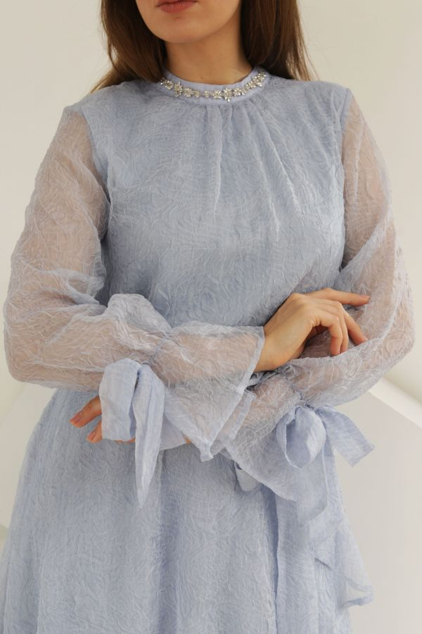 Blue Layered Dress with Strassed Collar